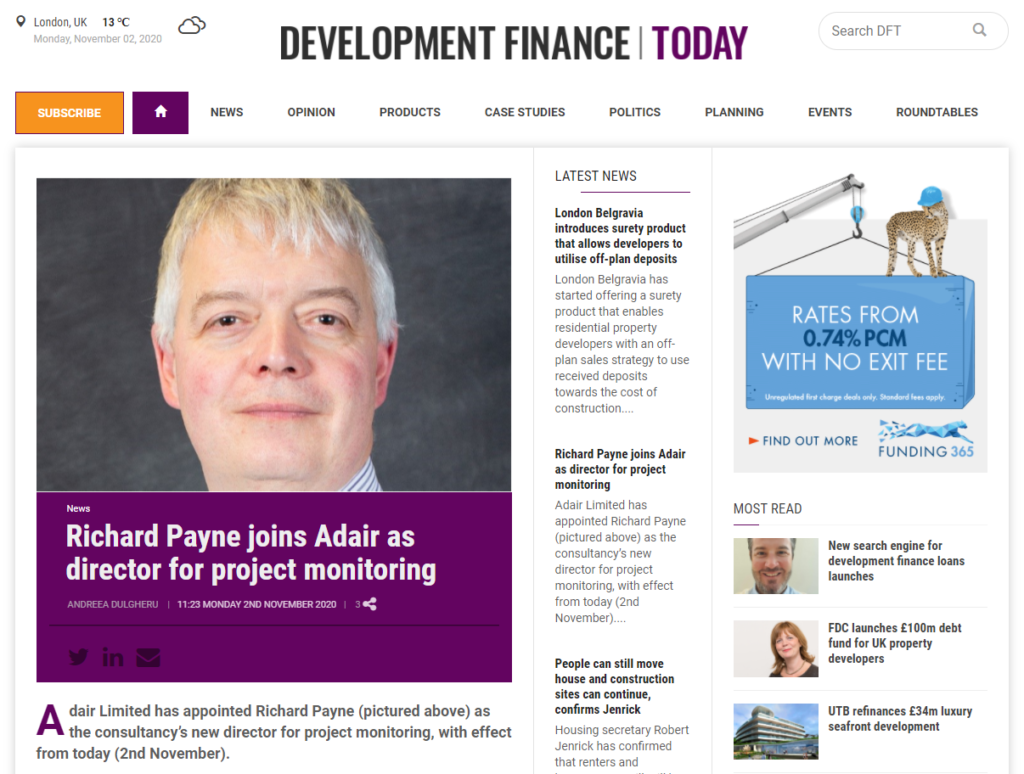 Adair's Project Monitoring Director Richard Payne Features on the front page of the Development Finance Today Article!