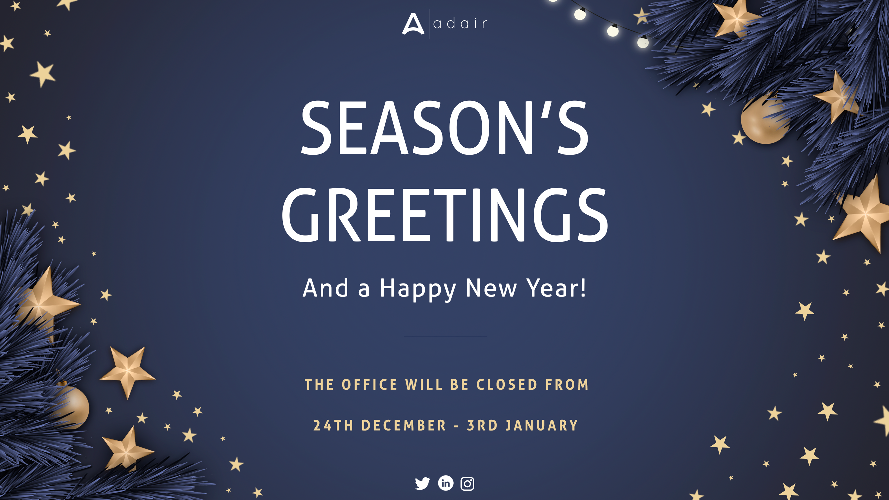 Season's Greetings from all at Adair! Please see our updated office hours during the festive period…