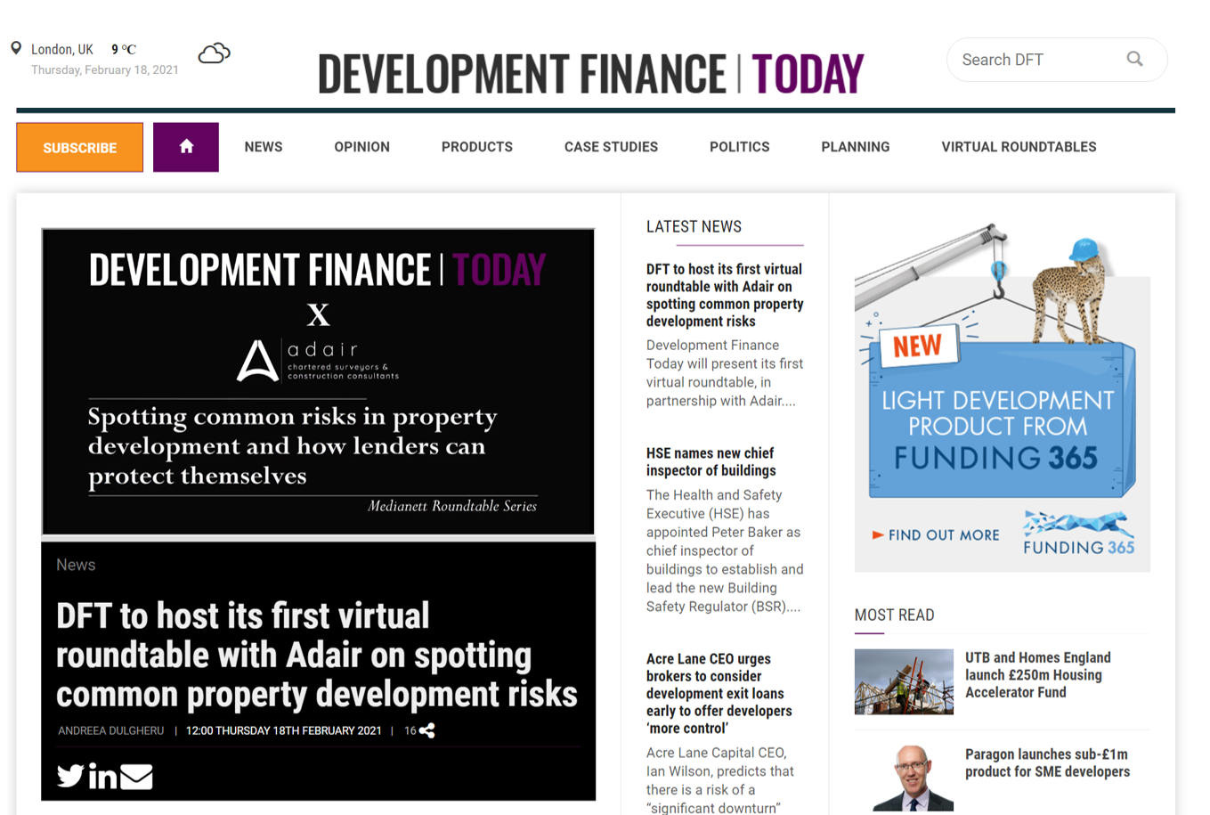 Adair sponsored the first virtual roundtable held by Development Finance Today